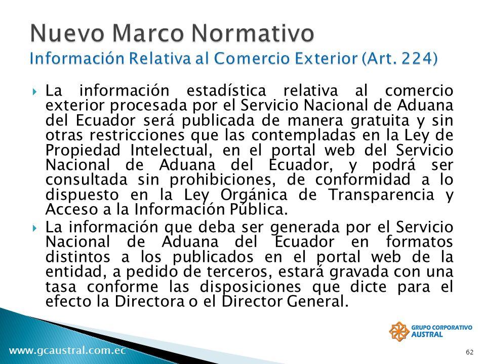 www.gcaustral.com.ec La información estadística relativa al comercio exterior procesada por el Servicio Nacional de Aduana del Ecuador será publicada