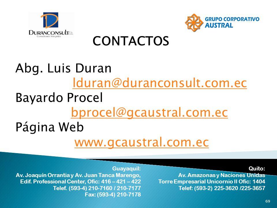 69 CONTACTOS Abg. Luis Duran lduran@duranconsult.com.ec Bayardo Procel bprocel@gcaustral.com.ec Página Web www.gcaustral.com.ec Guayaquil: Av. Joaquín