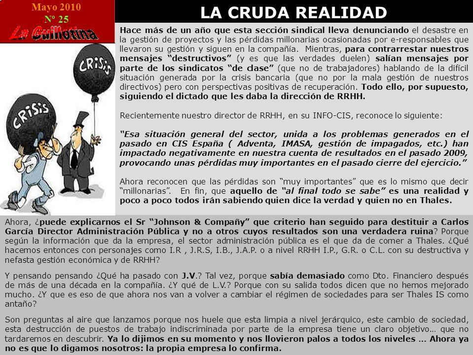 Mayo 2010 Nº 25 LA CRUDA REALIDAD Hace más de un año que esta sección sindical lleva denunciando el desastre en la gestión de proyectos y las pérdidas millonarias ocasionadas por e-responsables que llevaron su gestión y siguen en la compañía.