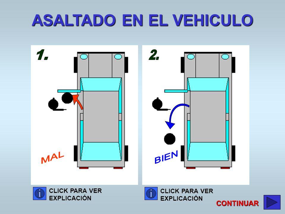 CLICK PARA VER EXPLICACIÓN CLICK PARA VER EXPLICACIÓN CONTINUAR ASALTADO EN EL VEHICULO