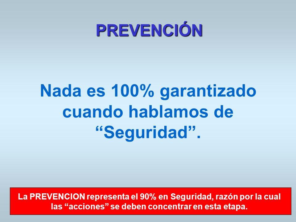 PREVENCIÓN Nada es 100% garantizado cuando hablamos de Seguridad. La PREVENCION representa el 90% en Seguridad, razón por la cual las acciones se debe