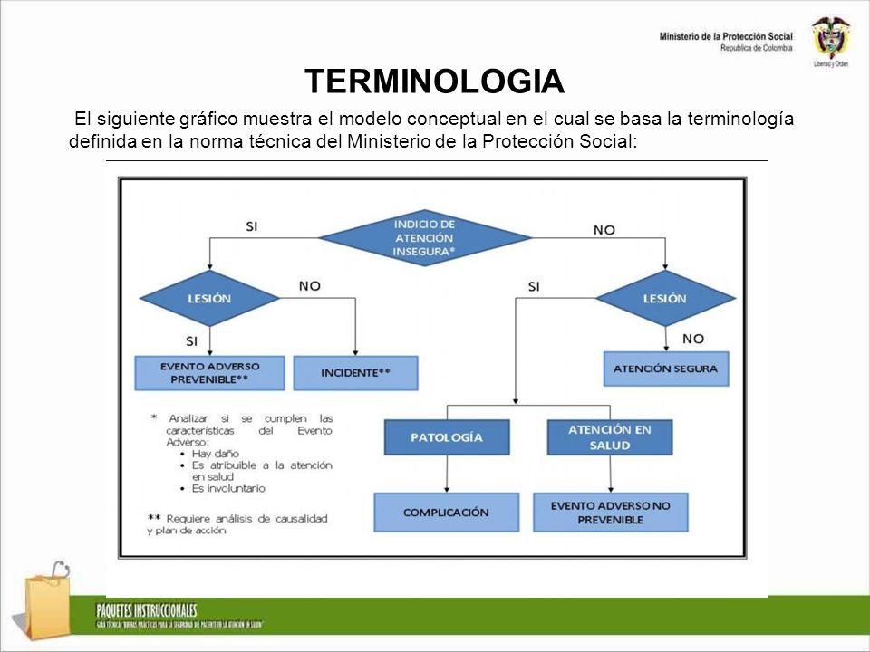 TERMINOLOGIA El siguiente gráfico muestra el modelo conceptual en el cual se basa la terminología definida en la norma técnica del Ministerio de la Protección Social: