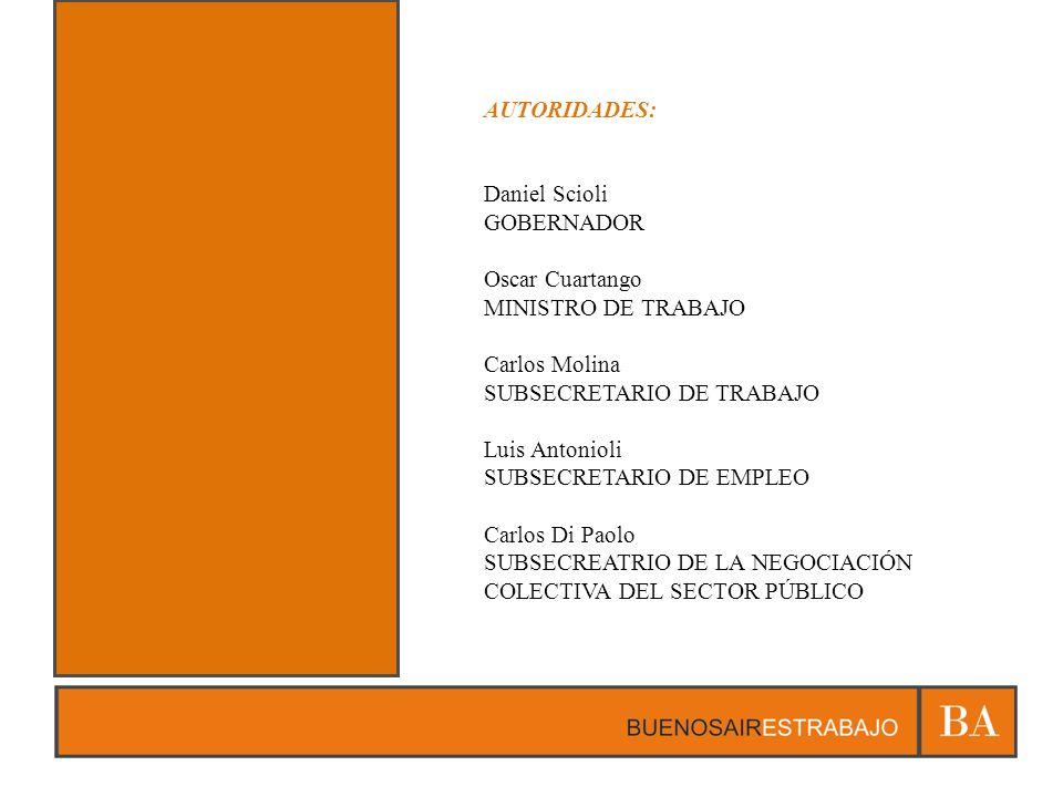 AUTORIDADES: Daniel Scioli GOBERNADOR Oscar Cuartango MINISTRO DE TRABAJO Carlos Molina SUBSECRETARIO DE TRABAJO Luis Antonioli SUBSECRETARIO DE EMPLE