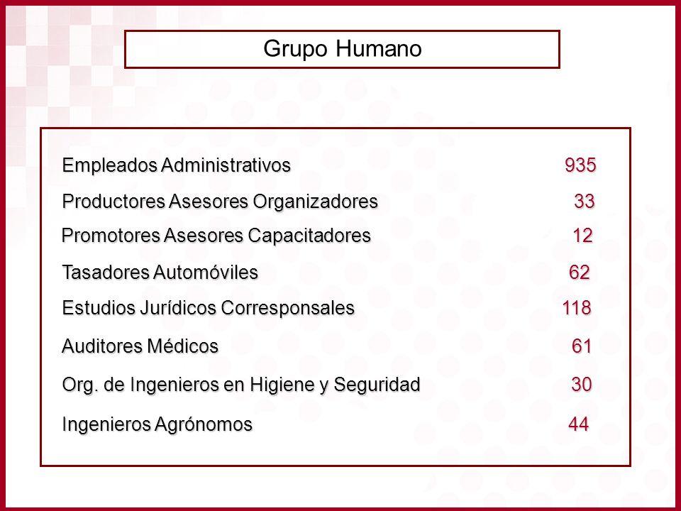 Grupo Humano Empleados Administrativos 935 Auditores Médicos 61 Org. de Ingenieros en Higiene y Seguridad 30 Ingenieros Agrónomos 44 Estudios Jurídico