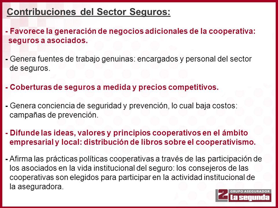 - Favorece la generación de negocios adicionales de la cooperativa: seguros a asociados. - Genera fuentes de trabajo genuinas: encargados y personal d
