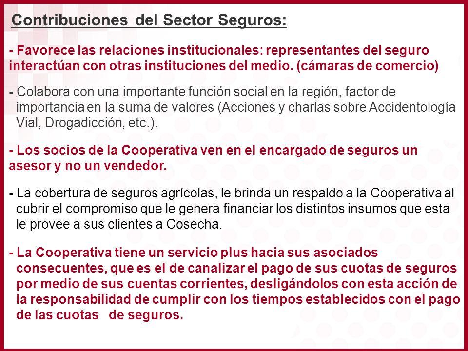 - Favorece las relaciones institucionales: representantes del seguro interactúan con otras instituciones del medio. (cámaras de comercio) - Colabora c