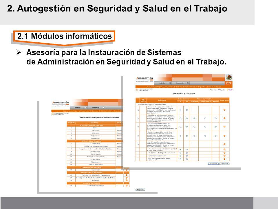 2.1Módulos informáticos 2. Autogestión en Seguridad y Salud en el Trabajo Asesoría para la Instauración de Sistemas de Administración en Seguridad y S