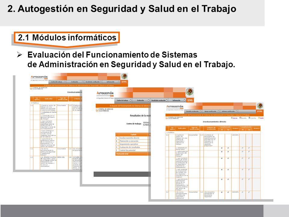 2.1Módulos informáticos 2. Autogestión en Seguridad y Salud en el Trabajo Evaluación del Funcionamiento de Sistemas de Administración en Seguridad y S