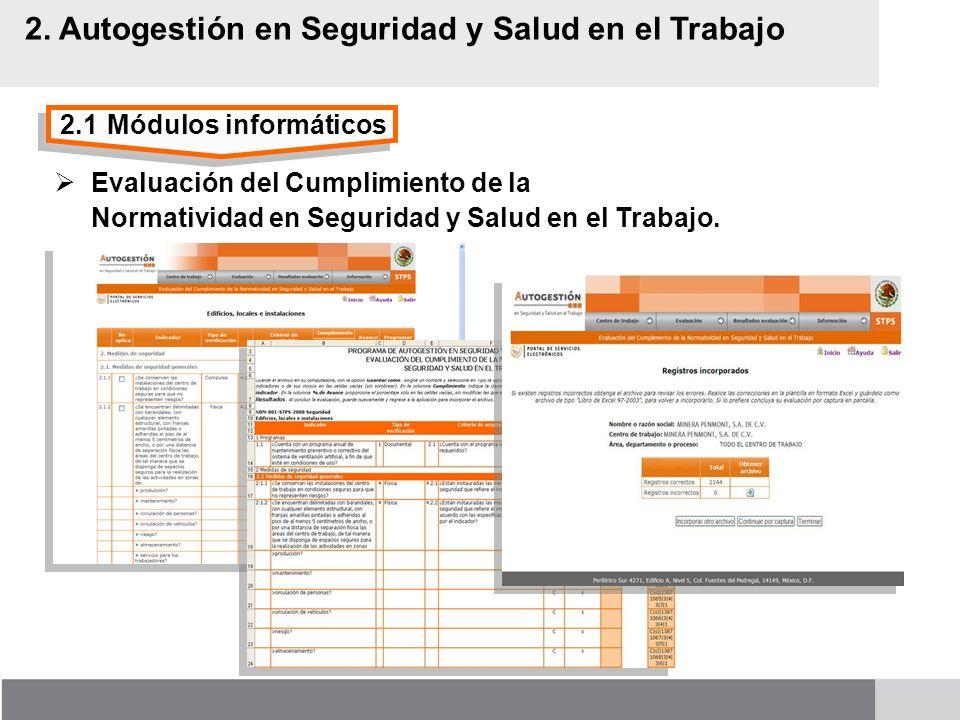 2.1Módulos informáticos 2. Autogestión en Seguridad y Salud en el Trabajo Evaluación del Cumplimiento de la Normatividad en Seguridad y Salud en el Tr