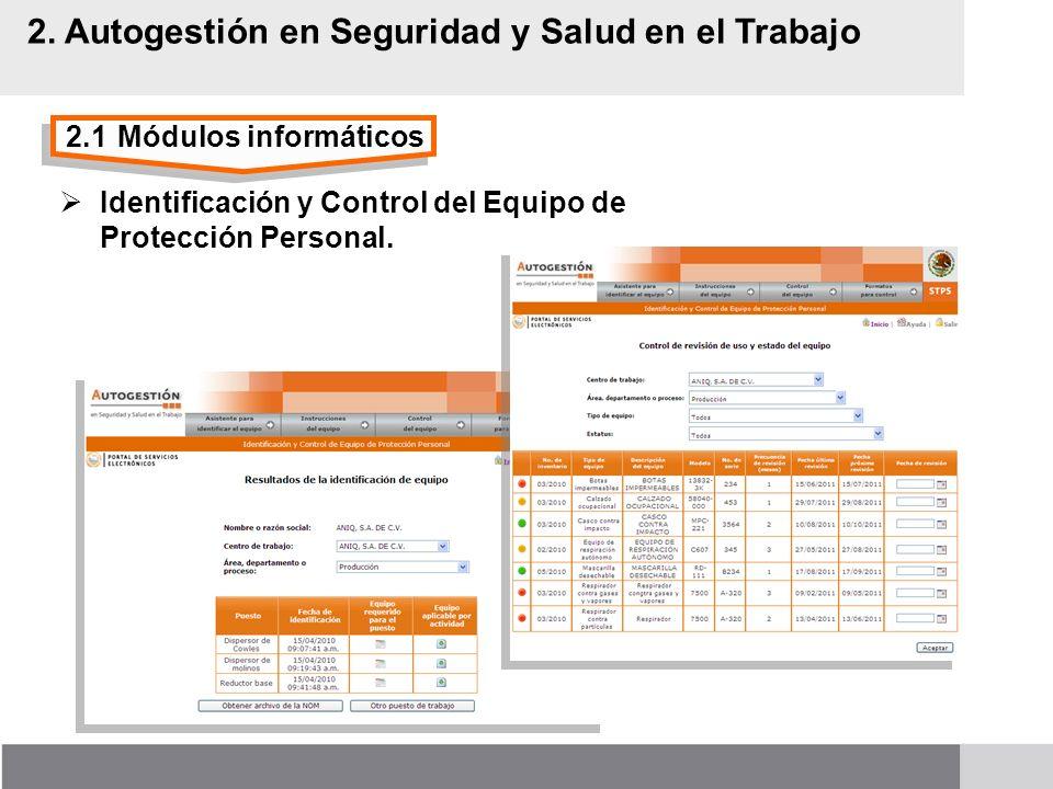 2.1Módulos informáticos 2. Autogestión en Seguridad y Salud en el Trabajo Identificación y Control del Equipo de Protección Personal.
