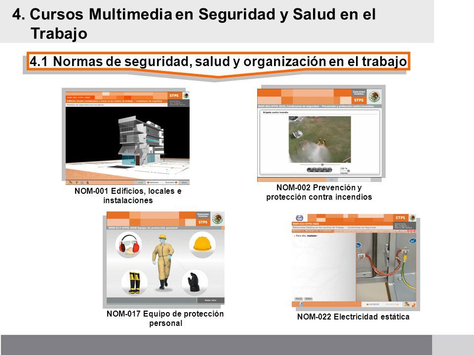 4.1Normas de seguridad, salud y organización en el trabajo 4. Cursos Multimedia en Seguridad y Salud en el Trabajo NOM-001 Edificios, locales e instal