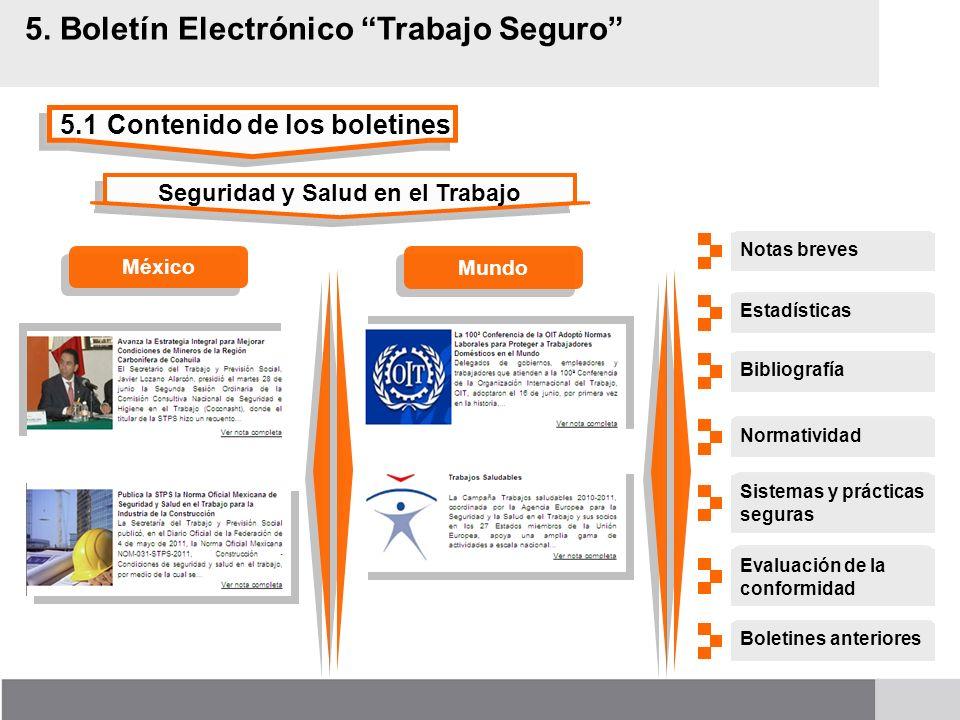 5.1Contenido de los boletines 5. Boletín Electrónico Trabajo Seguro Seguridad y Salud en el Trabajo MéxicoMundo Notas breves Sistemas y prácticas segu