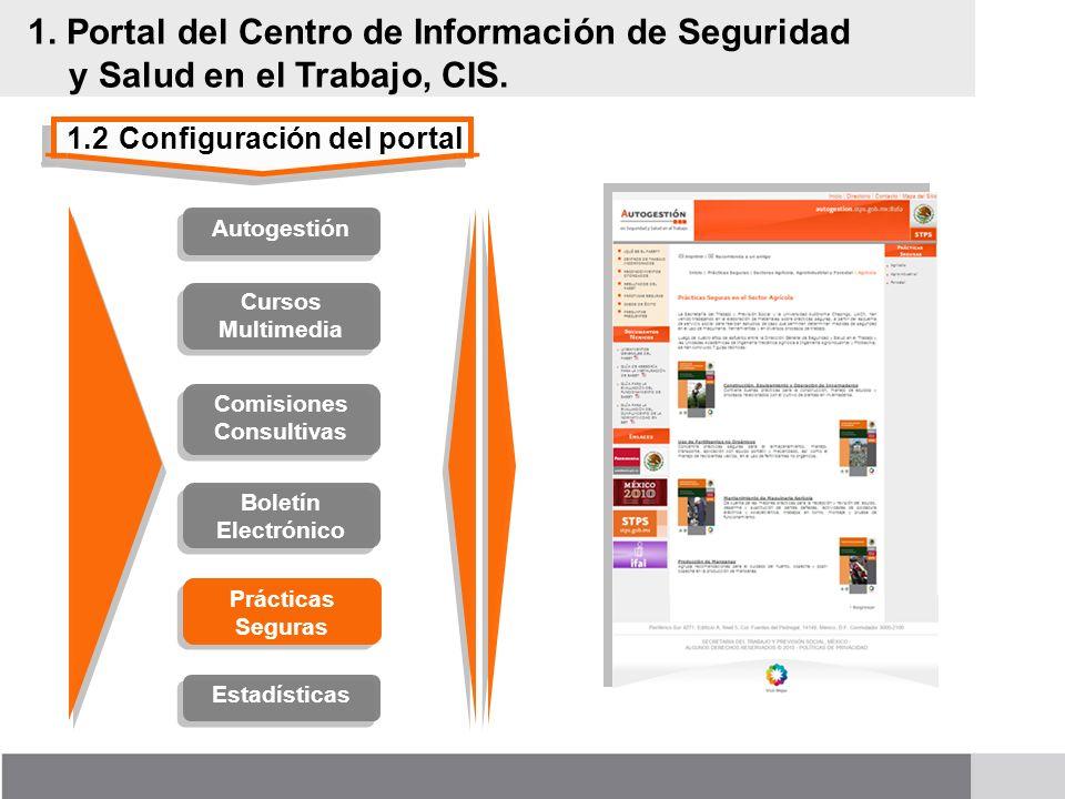 1.2Configuración del portal 1. Portal del Centro de Información de Seguridad y Salud en el Trabajo, CIS. Cursos Multimedia Comisiones Consultivas Prác