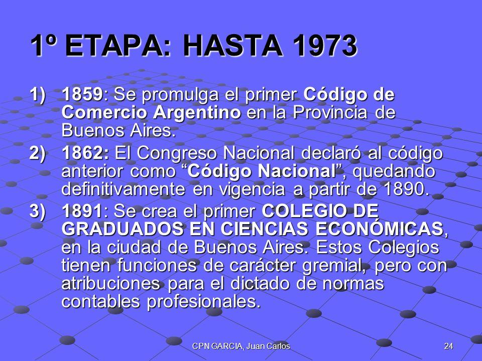 24CPN GARCIA, Juan Carlos 1º ETAPA: HASTA 1973 1)1859: Se promulga el primer Código de Comercio Argentino en la Provincia de Buenos Aires. 2)1862: El