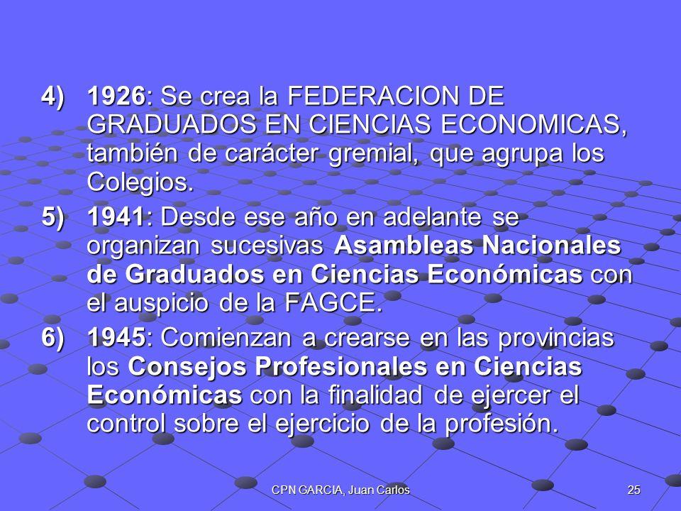 25CPN GARCIA, Juan Carlos 4)1926: Se crea la FEDERACION DE GRADUADOS EN CIENCIAS ECONOMICAS, también de carácter gremial, que agrupa los Colegios. 5)1