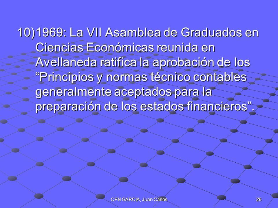 28CPN GARCIA, Juan Carlos 10)1969: La VII Asamblea de Graduados en Ciencias Económicas reunida en Avellaneda ratifica la aprobación de los Principios