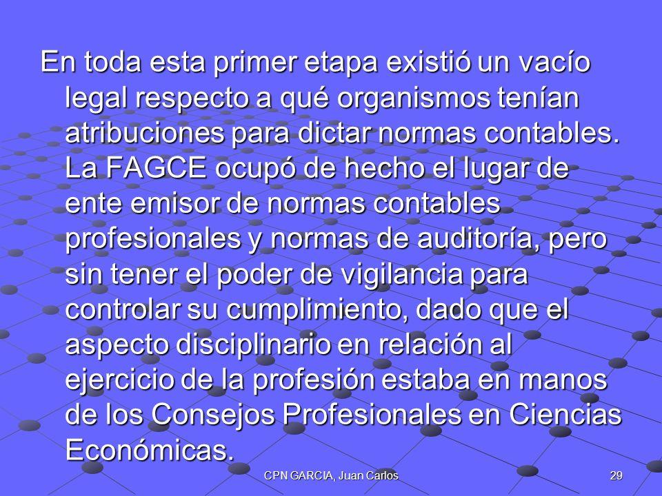 29CPN GARCIA, Juan Carlos En toda esta primer etapa existió un vacío legal respecto a qué organismos tenían atribuciones para dictar normas contables.