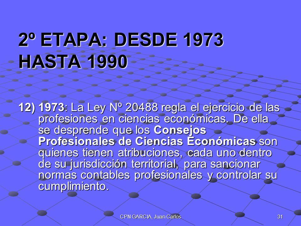 31CPN GARCIA, Juan Carlos 2º ETAPA: DESDE 1973 HASTA 1990 12)1973: La Ley Nº 20488 regla el ejercicio de las profesiones en ciencias económicas. De el