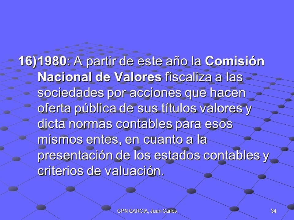 34CPN GARCIA, Juan Carlos 16)1980: A partir de este año la Comisión Nacional de Valores fiscaliza a las sociedades por acciones que hacen oferta públi