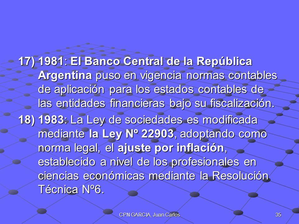 35CPN GARCIA, Juan Carlos 17)1981: El Banco Central de la República Argentina puso en vigencia normas contables de aplicación para los estados contabl