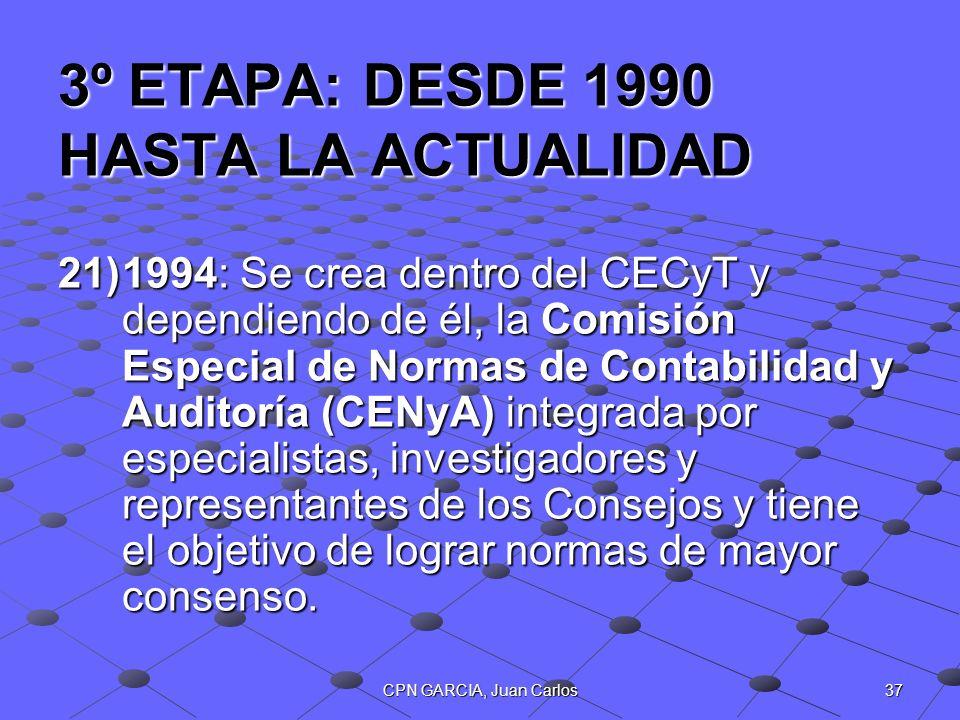 37CPN GARCIA, Juan Carlos 3º ETAPA: DESDE 1990 HASTA LA ACTUALIDAD 21)1994: Se crea dentro del CECyT y dependiendo de él, la Comisión Especial de Norm
