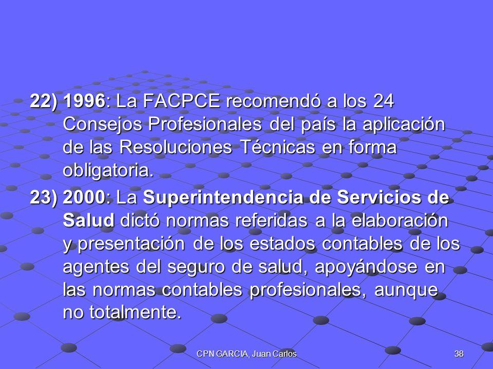 38CPN GARCIA, Juan Carlos 22)1996: La FACPCE recomendó a los 24 Consejos Profesionales del país la aplicación de las Resoluciones Técnicas en forma ob