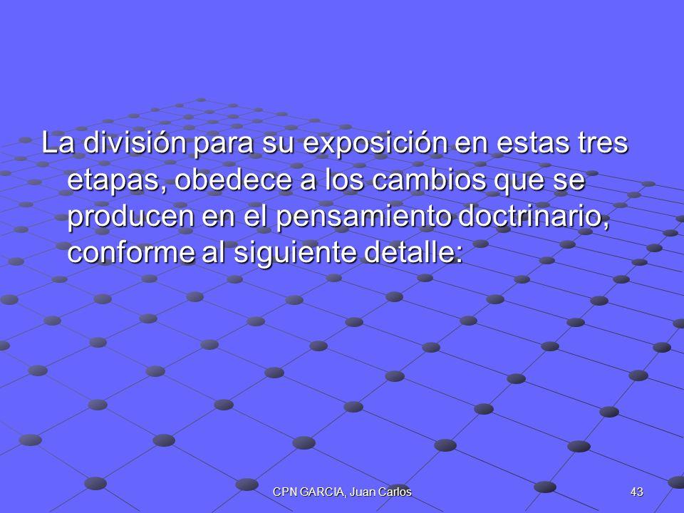 43CPN GARCIA, Juan Carlos La división para su exposición en estas tres etapas, obedece a los cambios que se producen en el pensamiento doctrinario, co