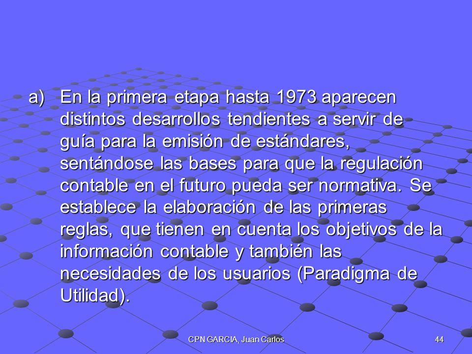 44CPN GARCIA, Juan Carlos a)En la primera etapa hasta 1973 aparecen distintos desarrollos tendientes a servir de guía para la emisión de estándares, s