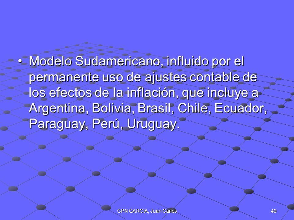 49CPN GARCIA, Juan Carlos Modelo Sudamericano, influido por el permanente uso de ajustes contable de los efectos de la inflación, que incluye a Argent