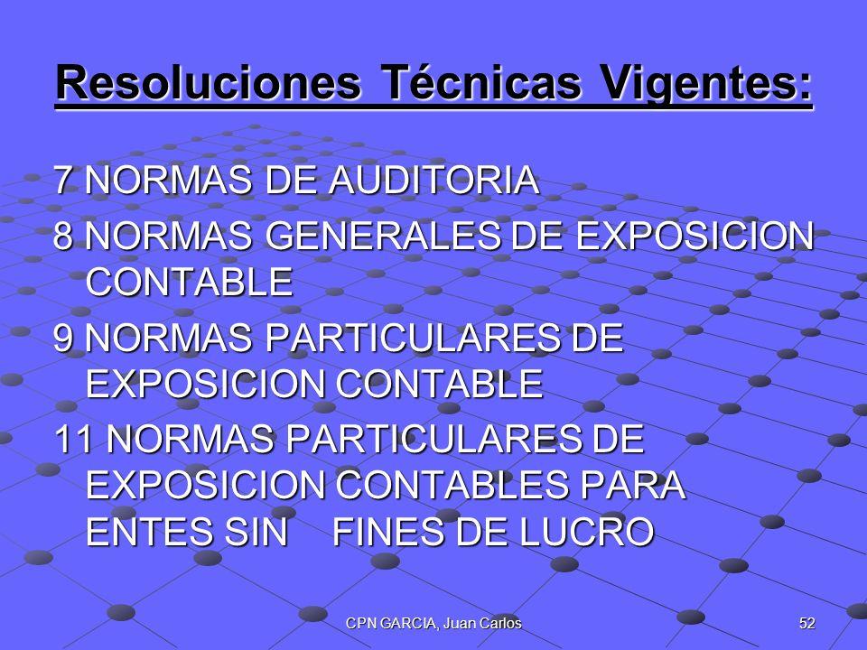 52CPN GARCIA, Juan Carlos Resoluciones Técnicas Vigentes: 7 NORMAS DE AUDITORIA 8 NORMAS GENERALES DE EXPOSICION CONTABLE 9 NORMAS PARTICULARES DE EXP