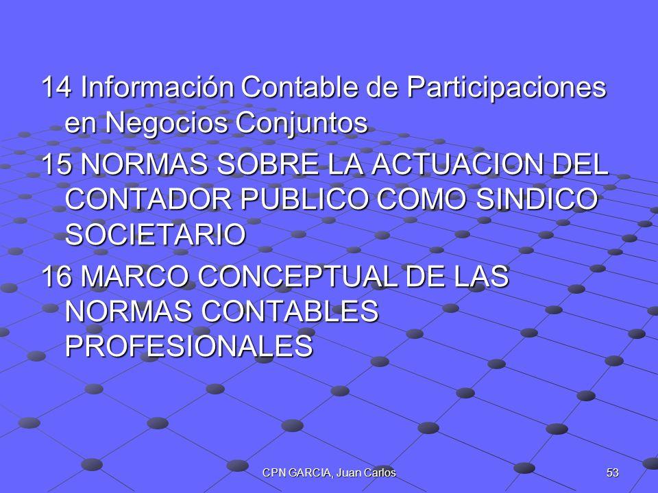 53CPN GARCIA, Juan Carlos 14 Información Contable de Participaciones en Negocios Conjuntos 15 NORMAS SOBRE LA ACTUACION DEL CONTADOR PUBLICO COMO SIND