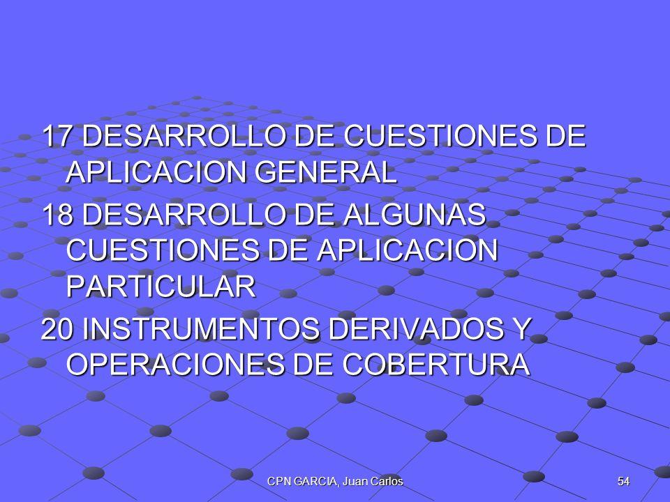 54CPN GARCIA, Juan Carlos 17 DESARROLLO DE CUESTIONES DE APLICACION GENERAL 18 DESARROLLO DE ALGUNAS CUESTIONES DE APLICACION PARTICULAR 20 INSTRUMENT