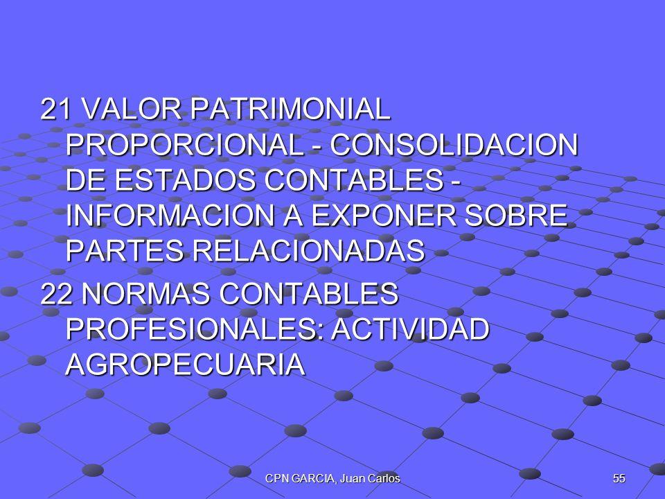 55CPN GARCIA, Juan Carlos 21 VALOR PATRIMONIAL PROPORCIONAL - CONSOLIDACION DE ESTADOS CONTABLES - INFORMACION A EXPONER SOBRE PARTES RELACIONADAS 22