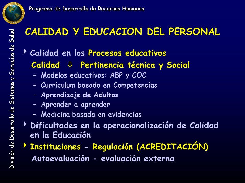 Programa de Desarrollo de Recursos Humanos División de Desarrollo de Sistemas y Servicios de Salud CALIDAD Y EDUCACION DEL PERSONAL Calidad en los Pro