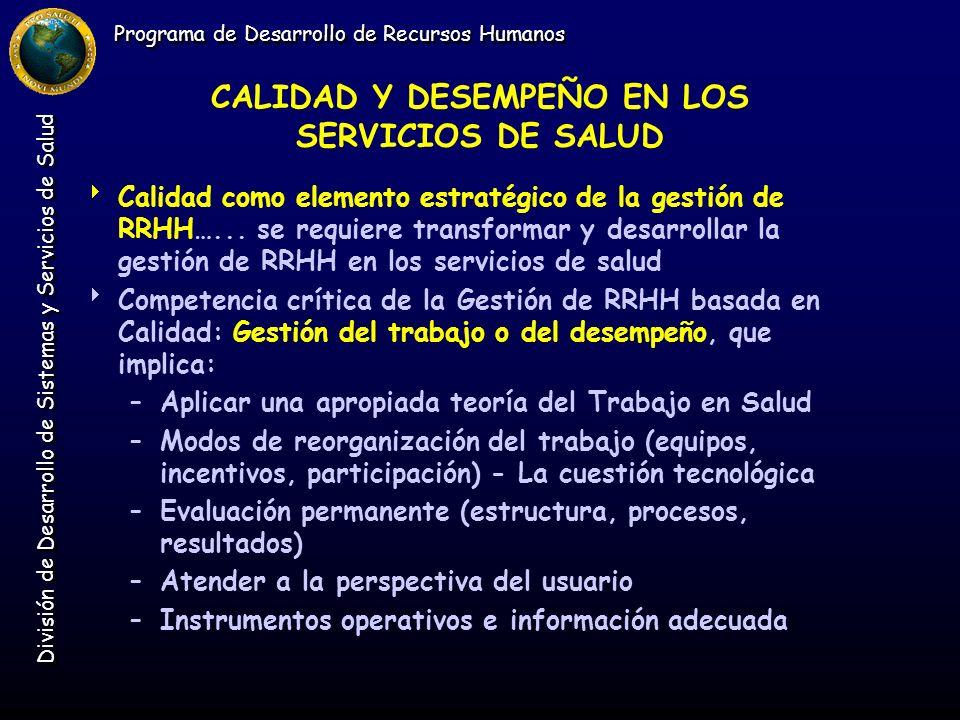 Programa de Desarrollo de Recursos Humanos División de Desarrollo de Sistemas y Servicios de Salud CALIDAD Y DESEMPEÑO EN LOS SERVICIOS DE SALUD Calid