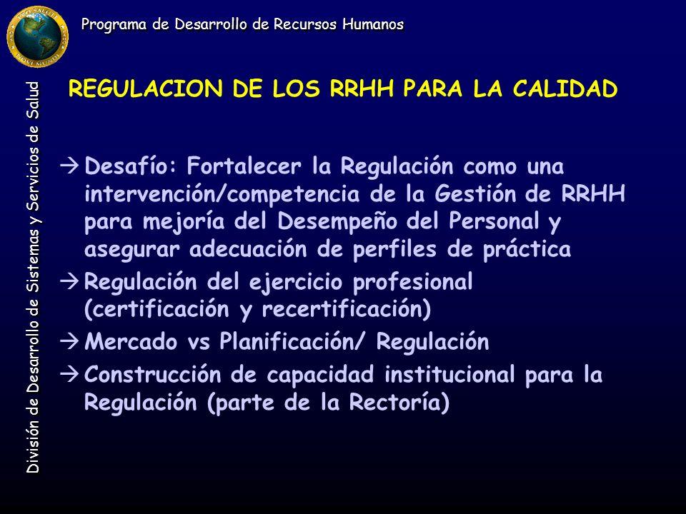 Programa de Desarrollo de Recursos Humanos División de Desarrollo de Sistemas y Servicios de Salud REGULACION DE LOS RRHH PARA LA CALIDAD àDesafío: Fo
