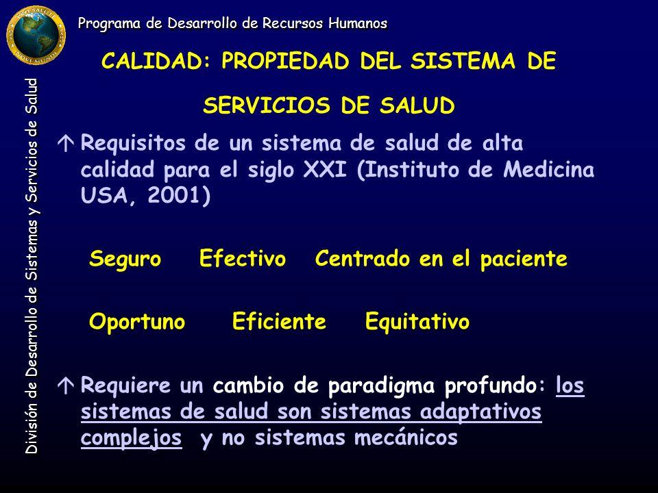 Programa de Desarrollo de Recursos Humanos División de Desarrollo de Sistemas y Servicios de Salud CALIDAD: PROPIEDAD DEL SISTEMA DE SERVICIOS DE SALU