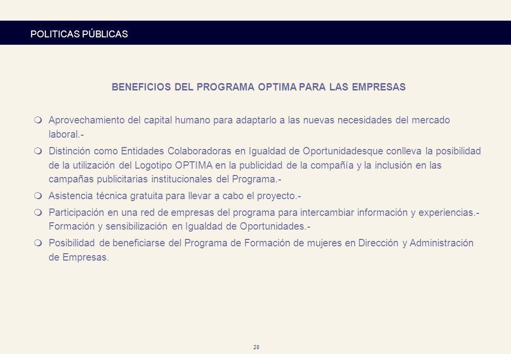 28 POLITICAS PÚBLICAS BENEFICIOS DEL PROGRAMA OPTIMA PARA LAS EMPRESAS mAprovechamiento del capital humano para adaptarlo a las nuevas necesidades del