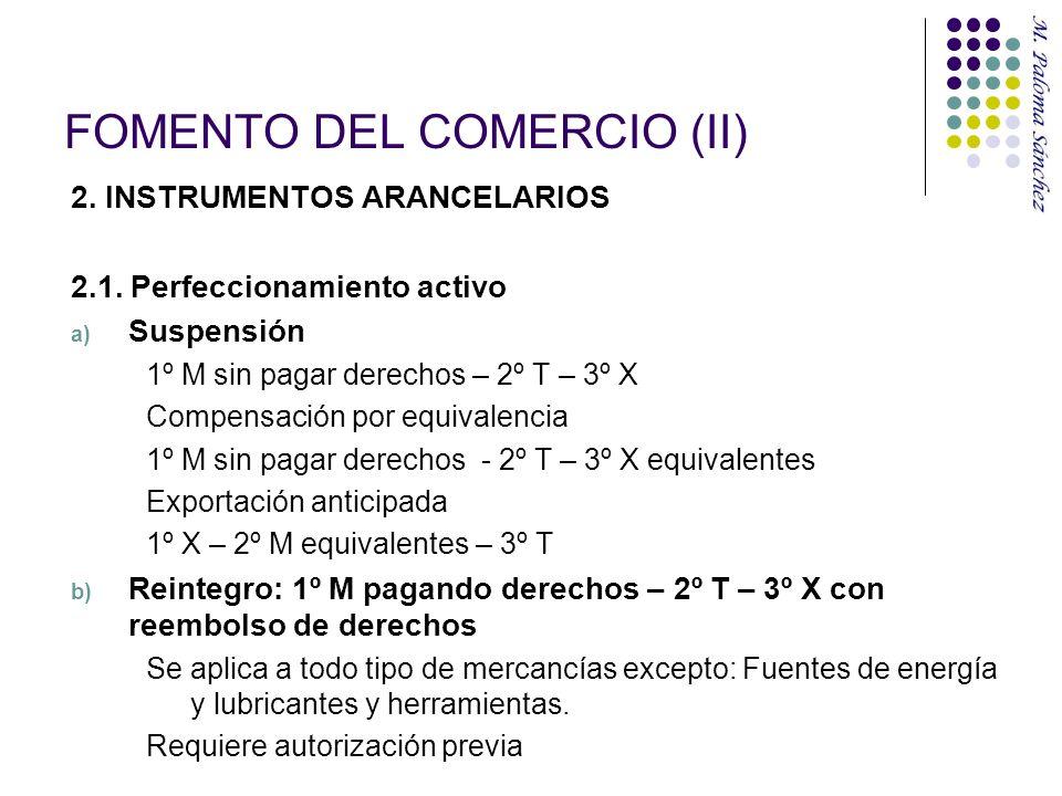 FOMENTO DEL COMERCIO (II) 2. INSTRUMENTOS ARANCELARIOS 2.1. Perfeccionamiento activo a) Suspensión 1º M sin pagar derechos – 2º T – 3º X Compensación