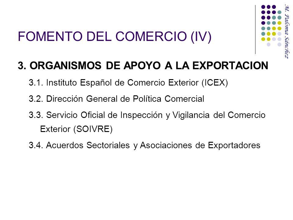 FOMENTO DEL COMERCIO (IV) 3. ORGANISMOS DE APOYO A LA EXPORTACION 3.1. Instituto Español de Comercio Exterior (ICEX) 3.2. Dirección General de Polític