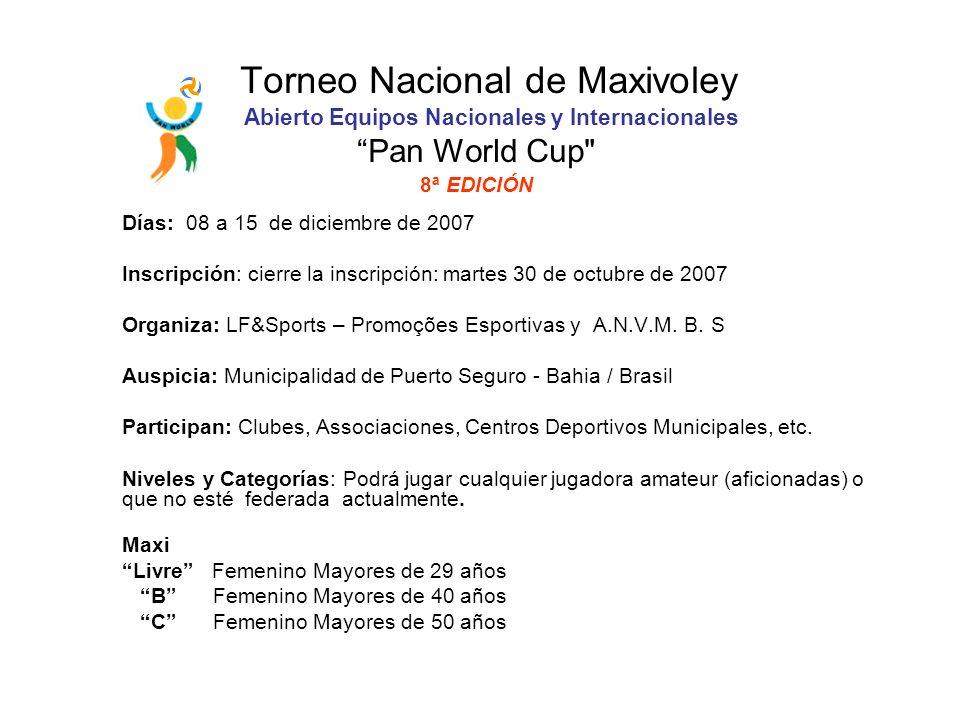 Torneo Nacional de Maxivoley Abierto Equipos Nacionales y Internacionales Pan World Cup 8ª EDICIÓN Días: 08 a 15 de diciembre de 2007 Inscripción: cierre la inscripción: martes 30 de octubre de 2007 Organiza: LF&Sports – Promoções Esportivas y A.N.V.M.