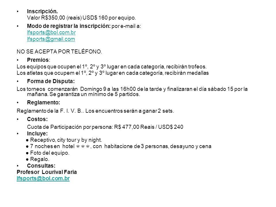 Inscripción. Valor R$350,00 (reais) USD$ 160 por equipo. Modo de registrar la inscripción: por e-mail a: lfsports@bol.com.br lfsports@gmail.com NO SE