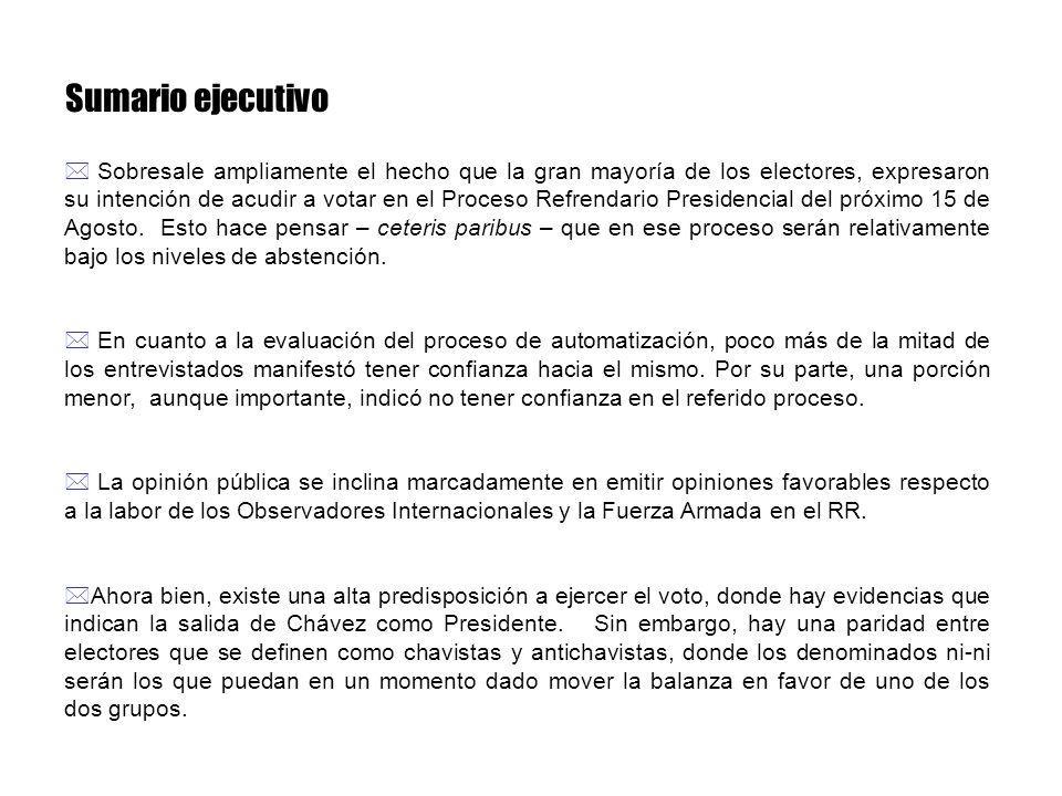 Sumario ejecutivo * Sobresale ampliamente el hecho que la gran mayoría de los electores, expresaron su intención de acudir a votar en el Proceso Refre