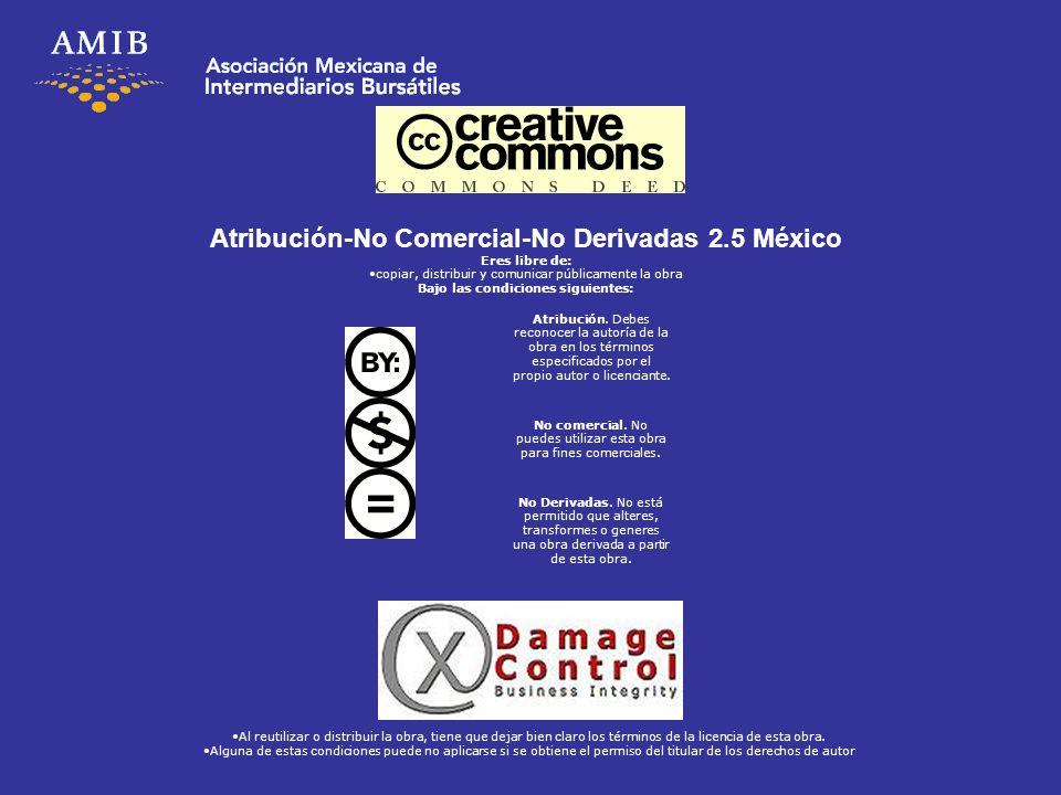 Atribución-No Comercial-No Derivadas 2.5 México Eres libre de: copiar, distribuir y comunicar públicamente la obra Bajo las condiciones siguientes: At