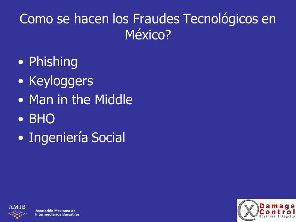 Como se hacen los Fraudes Tecnológicos en México? Phishing Keyloggers Man in the Middle BHO Ingeniería Social