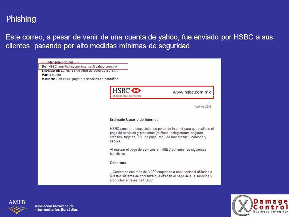 Phishing Este correo, a pesar de venir de una cuenta de yahoo, fue enviado por HSBC a sus clientes, pasando por alto medidas mínimas de seguridad.