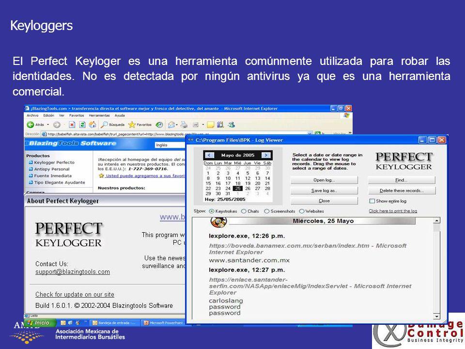 Keyloggers El Perfect Keyloger es una herramienta comúnmente utilizada para robar las identidades. No es detectada por ningún antivirus ya que es una