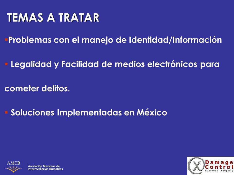 TEMAS A TRATAR Problemas con el manejo de Identidad/Información Legalidad y Facilidad de medios electrónicos para cometer delitos. Soluciones Implemen