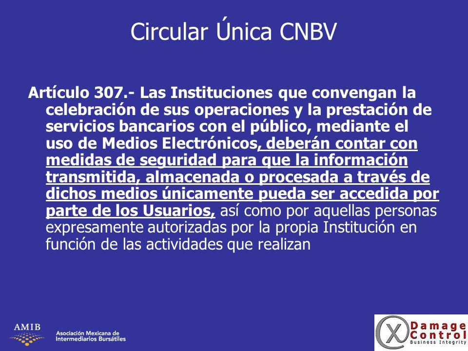 Circular Única CNBV Artículo 307.- Las Instituciones que convengan la celebración de sus operaciones y la prestación de servicios bancarios con el púb