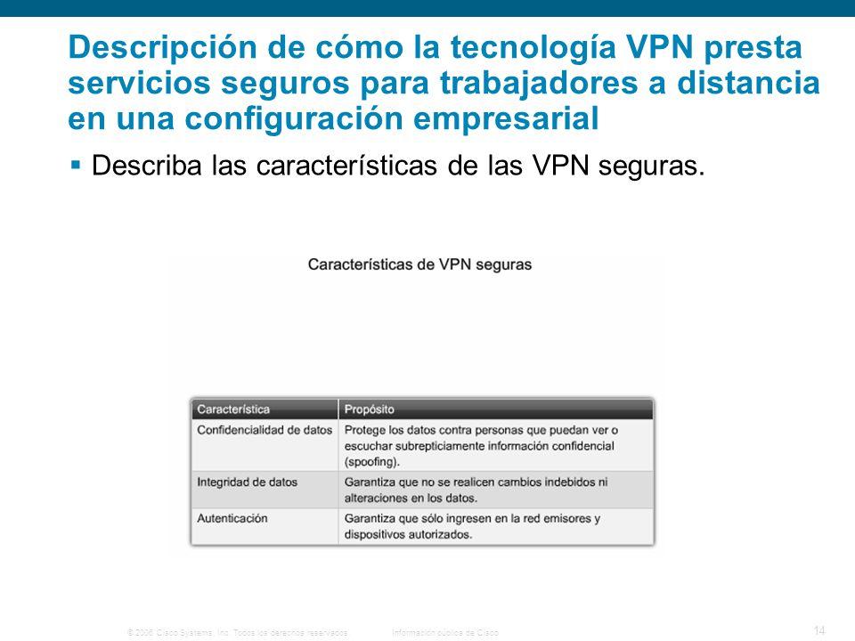 © 2006 Cisco Systems, Inc. Todos los derechos reservados. Información pública de Cisco 14 Descripción de cómo la tecnología VPN presta servicios segur
